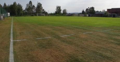 Det spelas en hel del sjumannamatcher vilket gör att det saknas lite gräs framför där målburarna stått.  Foto: Pia Skogman, Lokalfotbollen.nu..