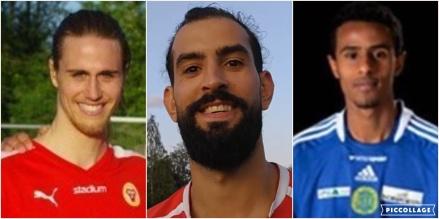 Svartvikstränaren Ahmad Khreis flankeras av de senaste nyförvärven Zakaria Beli-Mekki (från Sund IF) och Ridwan Beyan (från IFK Timrå).