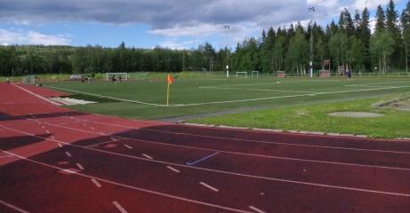 Vy över planen från det något malplacerade speakerbåset. Foto: Pia Skogman, Lokalfotbollen.nu.