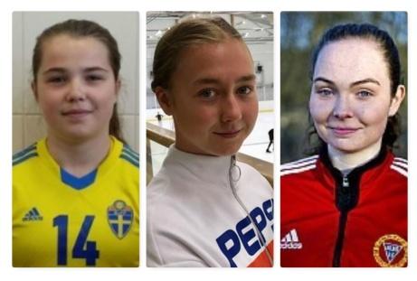 Alnös tre återvändare inför säsongen 2020. Fr v. Maya Hulinder. Zoe Tomley och Engelina Nygren.