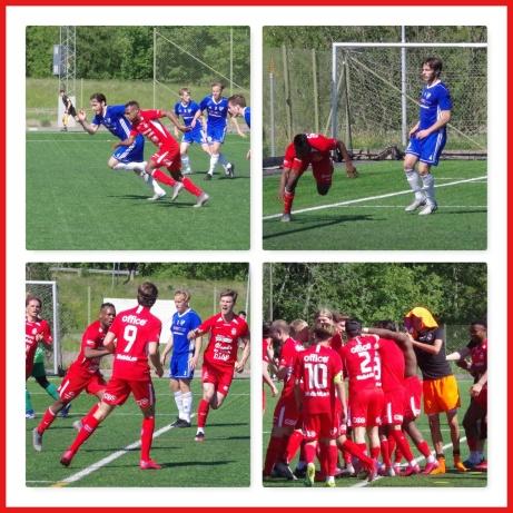 Sani Tahir satte 3-2-målet för Stöde och blev jublande glad. Foto: Pia Skogman, Lokalfotbollen.nu.