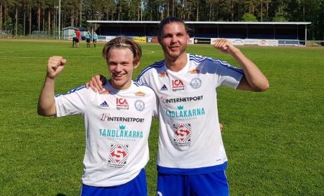 Iggesunds matchhjältar i 3-2-segern mot Svartvik, Alvin Brisvåg (två mål) och Christian Brolin, Foto: Iggesunds hemsida.