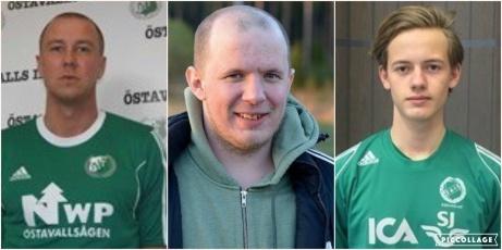 Fredrik Martinsson gör sin femte säsong som tränare och flankeras på bilden av de två återvändande försvarsspelarna Jonas Westring och Ted Åkerlund.