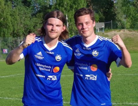 Matfors målskyttar i premiären mot Östavall, Sebastian Koivisto och Oliver Spjut.Foto: Pia Skogman, Lokalfotbollen.nu.