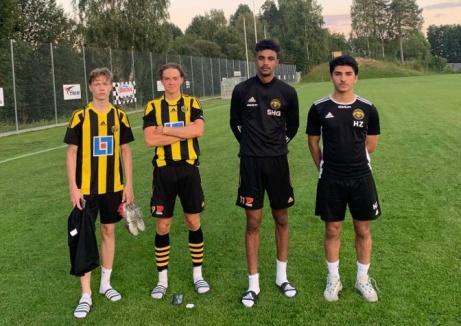 Kuben 2:s målgörare i 4-3-vinsten på Thulevallen mot Matfors 2. Fr v Albin Bång,Alexander Nordin,Senay Haile ochHussein Aljada. Foto: Jesper Hellström.