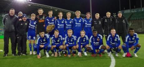GIF Sundsvall distriktsmästare i Medelpad på herrsidan 2020. Detta efter en 2-0-seger över Stöde i finalen. Giffarna har under hela turneringen ställt upp med ett kombinerat P19/17-lag utan spelare från A-truppen. Foto: Pia Skogman, Lokalfotbollen.nu.