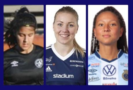 Tre nya i SDFF:s A-trupp. Fr v.Lyan Al-Rikabi från den egna akademin, Amanda Hagelberg från Sandvikens IF men har tidigare spelat i SDFF och Lee Winroth från Gefle IF.