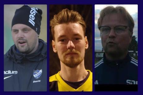 SDFF Akademi/F19;s tränarduo 2021 Patrick Davis och Mattias Johansson tillsammans med Jörgen Strömberg som är huvudansvarig för klubbens hela akademiverksamhet.