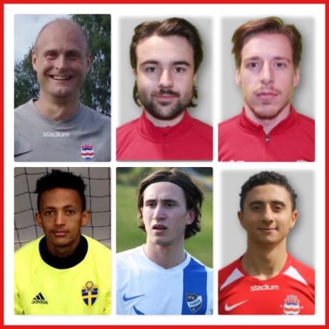 Stöde har gjort klart med sex spelare från årets trupp så här långt inför 2021. På den övre raden de rutinerade Cristoffer Högbom, Filip Tägström och Johan Ödmark och på den nedre ungtupparna Kbrom Brhane,Musa AngayevaochWisam Hamdan.