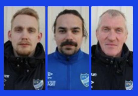 IFK Sundsvalls tränarstab 2021. Fr v Fredrik Enqvist (huvudtränare), Krister Wikner (spelande assisterande) och Anders Aspenrud (målvaktstränare med rätt att vakta kassen vid behov).
