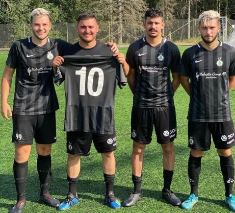 FC Norr Uniteds målgörare när laget vände 0-1 i paus till en 4-1-seger hemma mot Wiskan. Fr.v. Hari Halilovic,Sevdjedin Haliti,Mahmoud El Assir och Amaro Bahtijar. Foto: FC Norr United.