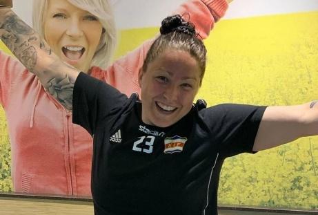 Angelica Lindholm Forsell satte Kovlands första historiska mål i division 1 Norrland. Foto: KIF