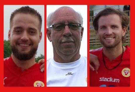 """Mr Sund och lagledaren Claes Nyman har """"förlängt med klubben i 30 år"""". Här flankerad anfallssesset Bleart Ugzmajli och sonen och lagkaptenen Pelly Nyman, som även de förlängt kontraktet. Dock inte i 30 år..."""