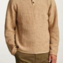 BRIXTON Greenpoint Henley Sweater Natural