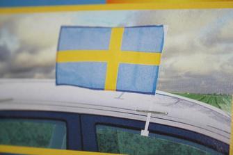 Bilflagga - Fönsterklämd