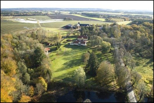 Flygfoto Stjernarps Gods huvudbyggnad