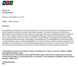 Recension av Håkan Rosborg BTJ häfte Nr 24, 2015