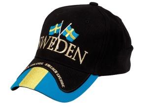 Sweden keps med flaggor - Svart swedenkeps