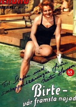 1954 Birte Hansson - Birte på ett omslag från Rekordmagasinet från 50-talet. Årets Idrottskvinna 1954 är en av utmärkelserna som finns i hennes minnesarkiv.
