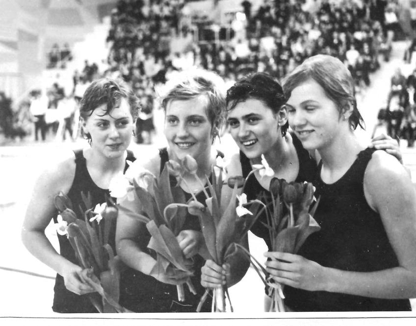 SM i Göteborg 1962 – Svenska mästarinnor på 4x100m bröstsim – Frv. Lena Ström, Ulla Christina Lindsjö, Marianne Sjöström och Lisbeth Sandgren