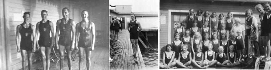Frv. Malmölaget som vann 4x100m fritt vid Svenska Spelen 1922, F. Henning som vann livräddningen vid Baltiska Spelen 1914 och en kandidatgrupp från sommarsimskolan på Ribban.