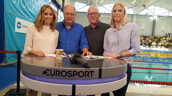 Det hätr gänget sände swim Open från Stockholm i april 2017 -  Karin Frick, Thopmas Jansson, Bosse Hultén och Josefin Lillhage.