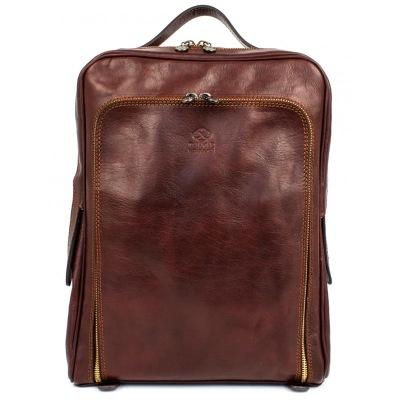 Laptopryggsäck i brunt skinn