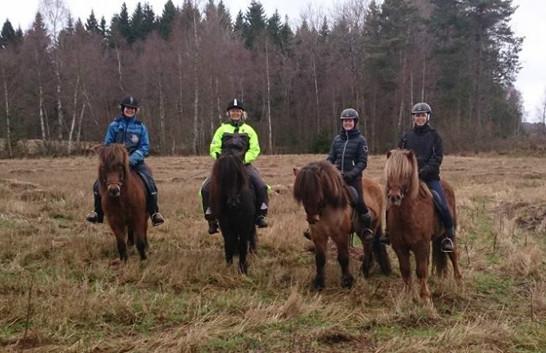 Från vänster: Maria & Saeta, Anneli & Soldan, jag och Gandur samt Ida & Röskur. Tack till Mimmi som vi träffade på i skogen och som kunde ta kortet på oss :)
