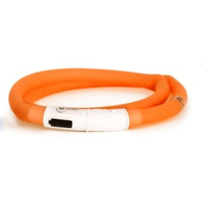 LED-ring silicon - Blinkhalsband Orange