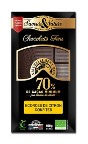 Mörk choklad 70% Citronskal (kanderad) 100g EKO