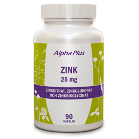 Zink 25mg 90 kap - Alpha Plus