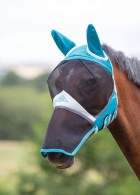 Flughuva med nosskydd / Fine Mesh Fly Mask with Ears & Nose