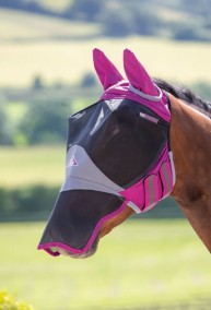 Flughuva med nosskydd / Shires Deluxe Fly Mask With Ears & Nose