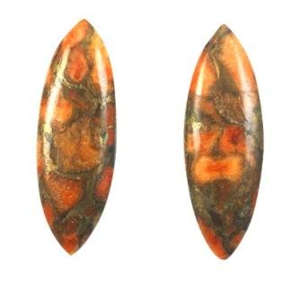 Orange koppar turkos cabochon 5x10mm