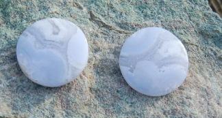 Blå Lace Agat sten cabochon 19mm, styckpris