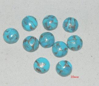 Blå koppar turkos cabochon 8 + 10mm, styckpris