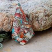 Koppar mosaik Turkos sten cabochon 46x24mm