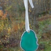 Agat skiva grön 57x45 mm
