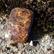 Bronzit fasettslipad sten 32x23mm