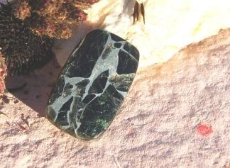 Mosaik sten med silver och Onyx, 33x20mm