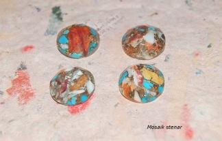 Mosaik sten koppar oyster Turkos, rund 15mm, styckpris