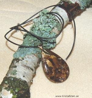 Bronzit sten i läderband