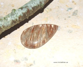 Koppar rutil kvarts sten cab 37x23mm