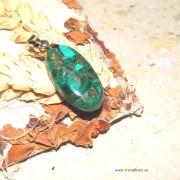 Malakit sten med koppar mosaik, med ögla