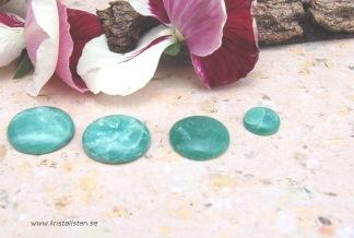 Grön Verdite flatback stenar, styckpris