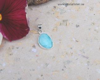 Dominikansk Larimar sten 16 mm i silverinfattning