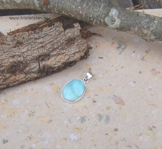 Dominikansk Larimar sten 17 mm i silverinfattning