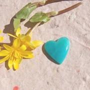 Amazonit sten  hjärta 19mm flatback