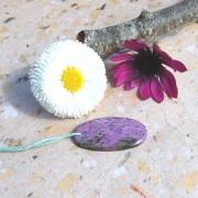 Purpurit sten 30x16mm topphålad