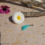 Amazonit sten 25 m topphålad med hållare